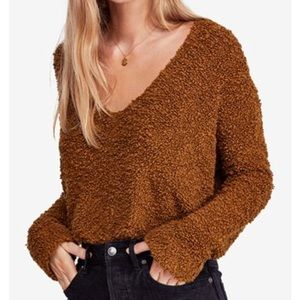 NWT Free People Cropped Popcorn Sweater Moss